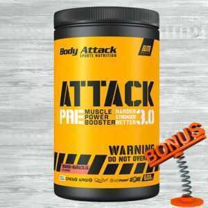 Body Attack Pre Attack 3.0 600g Dose 47,48€/kg Booster Creatin Koffein + Bonus