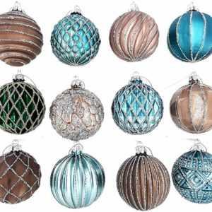 12 Luxus Weihnachtskugeln Christbaumkugeln Weihnachten Glas Weihnachtsdeko J6