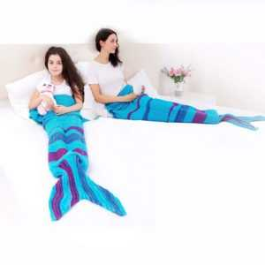 Kuscheldecke Meerjungfrauen Sofadecke Wohndecke Flossendecke Decke