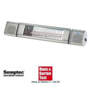 Semptec Low-Glare-IR-Heizstrahler, Bluetooth, Lautsprecher & App, 2000 W, IP65