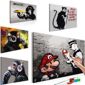 Malen nach Zahlen Erwachsene Wandbild Malset 60x40 Street Art Banksy n-A-0266-d