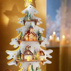 Led Holz Tannenbaum Engel 3D Weihnachtsdeko Timer Fensterdeko Beleuchtet Tanne