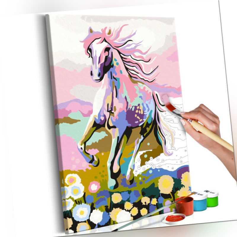 Malen nach Zahlen Erwachsene Pferde Wandbild Malset mit Pinsel n-A-0178-d-a