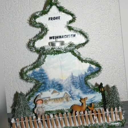 Weihnachten Dekoration Tannenbaum Decopage Winter 2 Rehkitz  Winterkind Teelicht