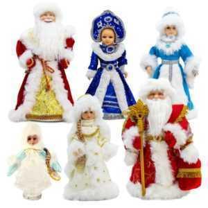 Ded Moroz Weihnachtsmann Schneeflöckchen Schneemädchen mitGeschenken Snegurochka