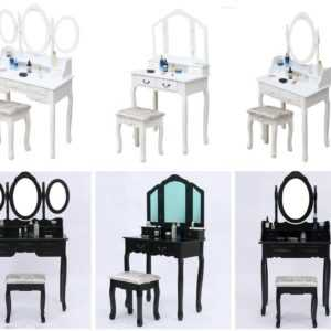 Wooden Dressing Table, Mirror & Stool Set Bedroom Makeup Desk 4-7 Drawers Vanity