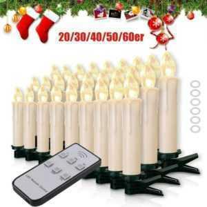 20-60er Kabellose LED Weihnachtskerzen Lichterkette Kerzen Christbaumkerzen Warm; EEK A+