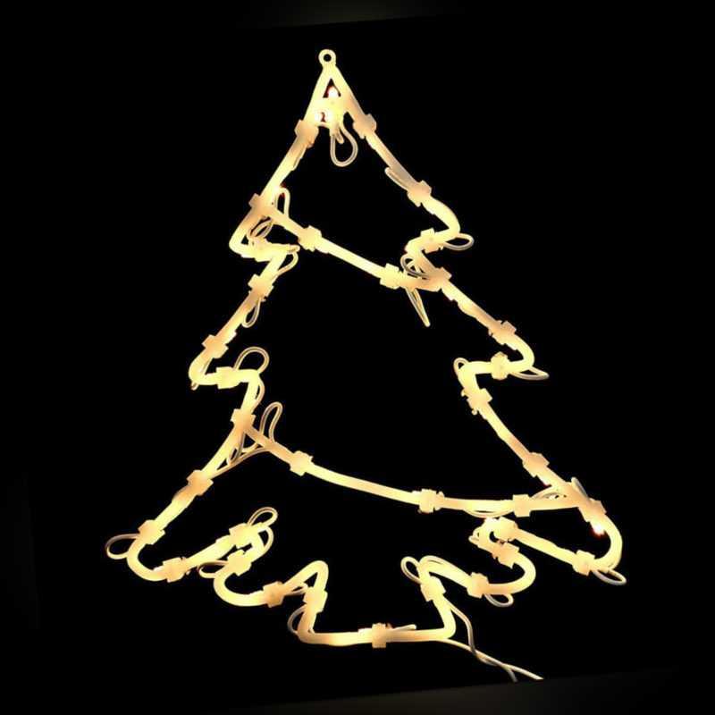 Christbaum Fensterbild 50 Lichter Silhouette Tannenbaum Weihnachten beleuchtet