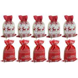 Geschenkbeutel Weihnachten 10er Set Weihnachtstüten Geschenktaschen Beutel