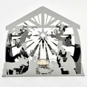 Weihnachtskrippe3D  Edelstahl poliert mit Teelichthalter 24 x 19 x 9 cm