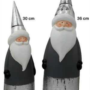 Grosse Figur Weihnachtmann Keramik 30 oder 36 cm grau silber weiss SANTA DEKO ♥