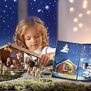 Adventskalender Weihnachtskrippe Krippe Krippenfiguren Holz Engel Tiere Kinder