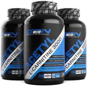 3x Acetyl L-Carnitine 3000 = 750 Tabletten Aminosäure F-BURN Abnehmen Diät