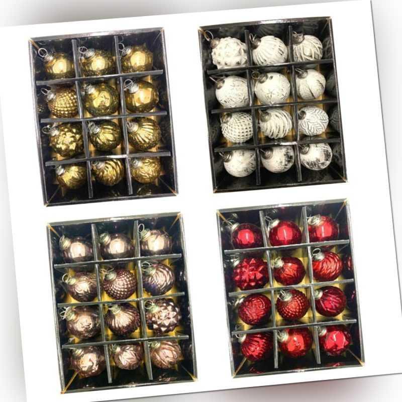 12x Premium Weihnachtskugeln Glas Christbaumkugeln Baumschmuck Weihnachts Kugel