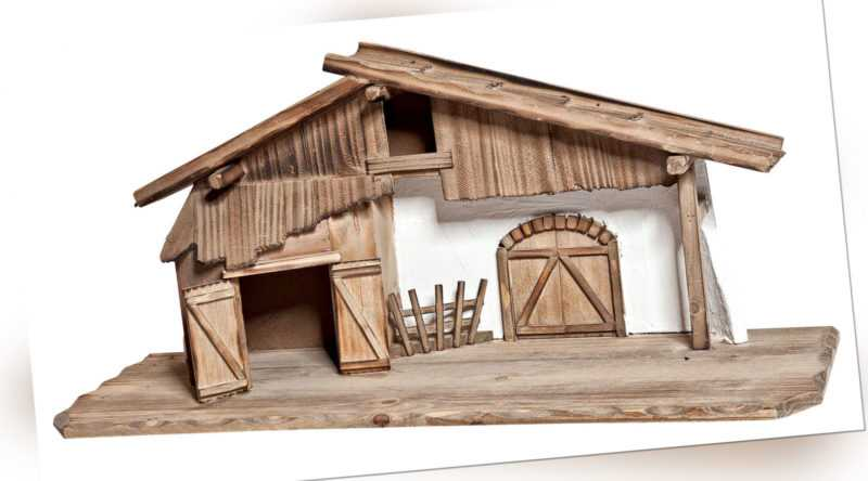 VBS Weihnachtskrippe aus Holz ca. 60x27cm Dekohaus Weihnachten Miniatur basteln