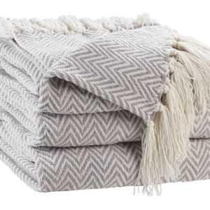 Wohnplaid Wohndecke Tagesdecke Sofadecke Polyester Creme Grau
