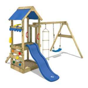 WICKEY Spielturm Klettergerüst FreshFlyer Schaukelgestell mit blauer Rutsche