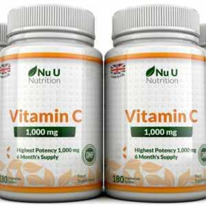 Vitamin C 1000 MG Nu U 4 Flaschen Super Stark 720 Tabletten 100% Garantie