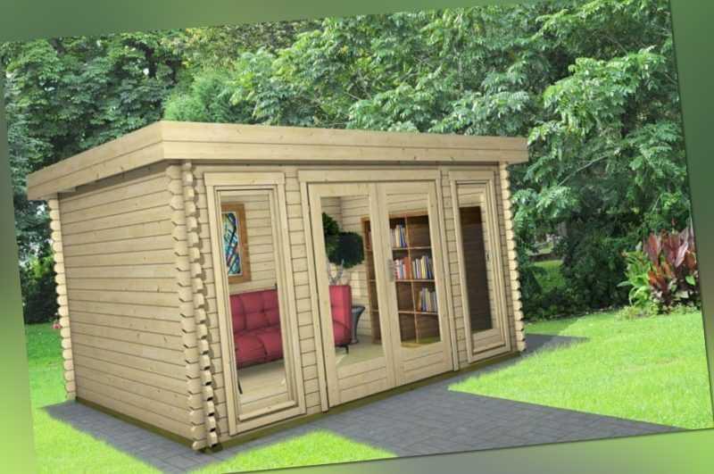 Gartenhaus modern Flachdach Holz 4x3m Holzhaus 40mm Blockhaus Gerätehaus York 7