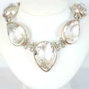 Exclusives Collier aus Silber mit ca. 200ct Bergkristall, Atellierstück A2756