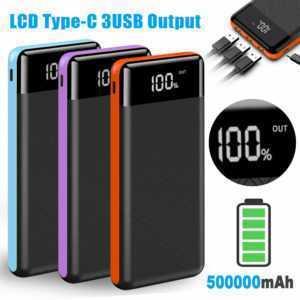 Powerbank 500000mAh External Charger tragbare LCD 3USB Batterie LCD Für Phone