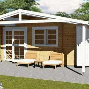 Gartenhaus aus Holz mit Vordach/Terrasse Blockhaus 40mm 6x4m 22qm Norwegen 58