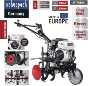 scheppach Benzin Motorhacke MTP860H 6.5 PS inkl. Reifen Gartenfräse Pflug Hacke