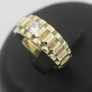 Kronen Designer Brillant Ring 585 Gold Solitär 0,45 Ct Diamant 14 Kt Wert 2990,-