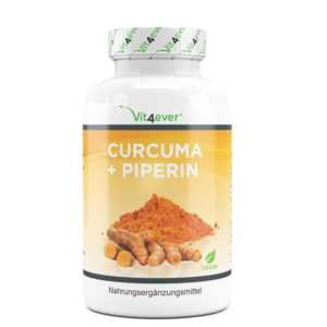 (9,21 EUR/100 g) Vit4ever Curcuma Piperin 360 Kapseln Glutenfrei