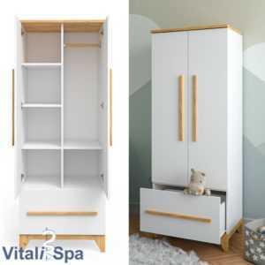 VITALISPA Kleiderschrank MALIA mit Schubfach verstellbaren Ablagen Kleiderstange
