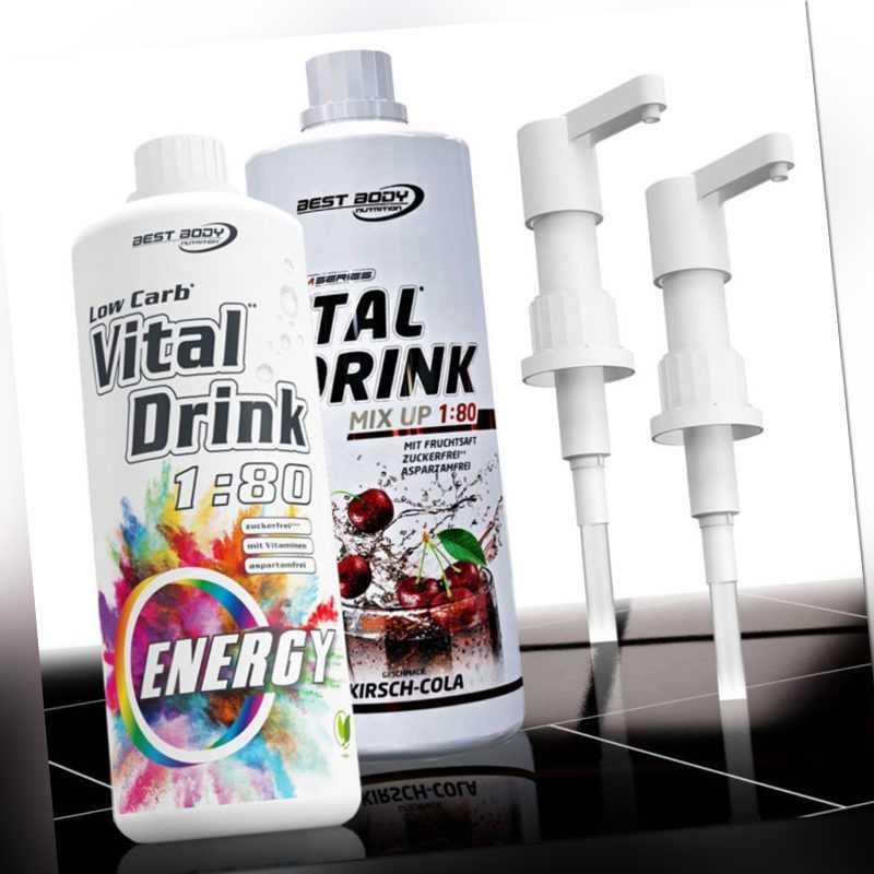 13,50€ /Ltr. Best Body Low Carb Vital Drink 2 x 1 Liter Getränkesirup + 2 Pumpen