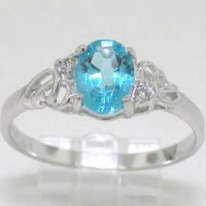 Blautopas Ring 585 Weißgold 14Kt Gold natürlicher beh. Blautopas 2 Brillanten