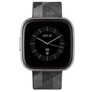 Fitbit Versa 2 Special Edition Gesundheits-Fitness-Smartwatch Gewebe in rauch