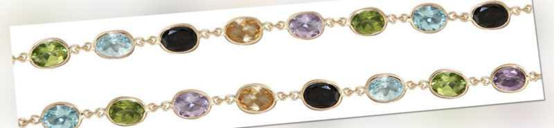 Edelsteinkette Gold 585 Goldkette mit Edelstein multicolor Collier oder Armband
