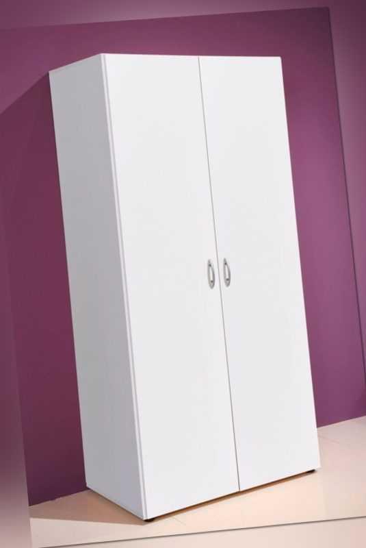 Drehtürenschrank Schrank Kleiderschrank weiß 2 Türen 80cm Kinderzimmer