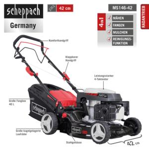 Scheppach Benzin Rasenmäher 4in1 MS146-42 2,6kW Mähen,Fangen,Mulchen,Radantrieb