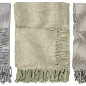 Laursen - Plaid Schmal Gestreift Wolldecke Kuscheldecke Decke