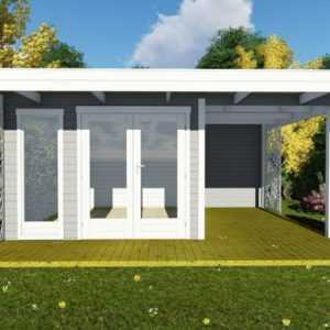 Flachdach Gartenhaus Modern 3x3M 40mm Blockhaus Holz mit Anbau Berlin EB40222oTL