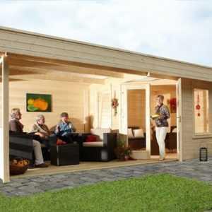 Gartenhaus Nina 28-B+Terrassse 3,00x6,00m mit gratis Dichtungsbahn 5-Eck Wolff