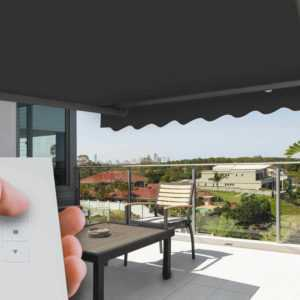 Gelenkarmmarkise elektrisch Sonnenschutz Sichtschutz Fernbedienung 300/350 x 250