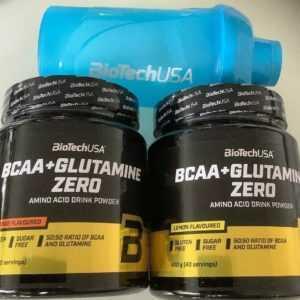 (29,06€/kg)Biotech USA BCAA + Glutamine Zero 2x480g Glutamin Aminosäure+SHAKER