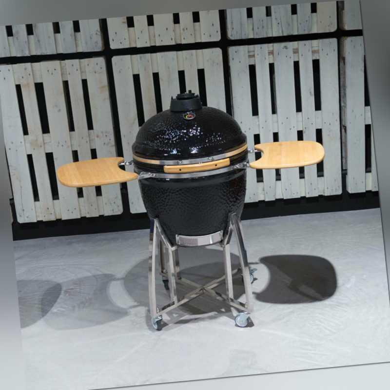 Smoker BBQ Grill Kamado Keramikgrill Holzkohlegrill Räucherofen Grillwagen 50cm