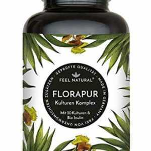 Florapur Kulturen Komplex - 20 Bakterienkulturen & Bio Inulin - 180 vegane, mage