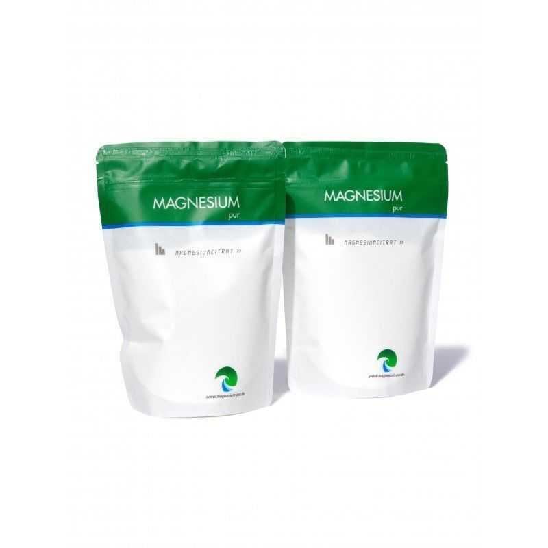Magnesium Pur Magnesiumcitrat (2x500g Beutel Set) Citrat Pulver