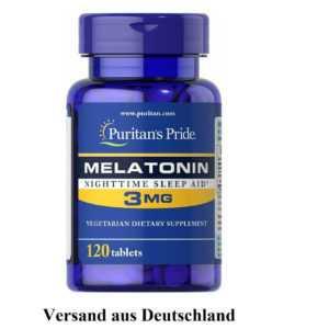 Puritan's Pride Melatonin 3mg 120/360 Schlaftabletten Schlaf Gut Einschlafen HIT
