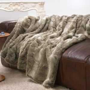 Große Felldecke, Fellimitat Decke Bär grau und beige Melange