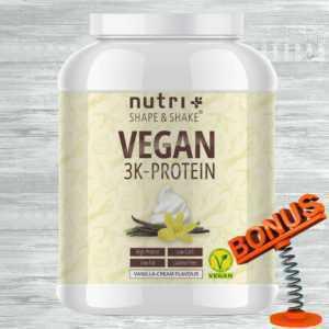 Nutri-Plus Shape & Shake Vegan 3K Protein 1kg Dose + Bonus