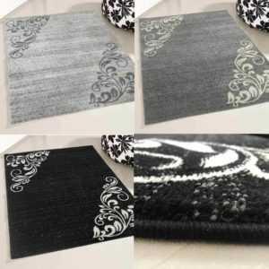Teppich Kurzflor Grau Schwarz Modern Designer Floral Blüten Design Wohnzimmer