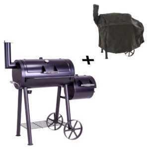 Smoker BBQ Grill Grillwagen Holzkohlegrill Standgrill XL 120 x 60 cm Schutzhülle