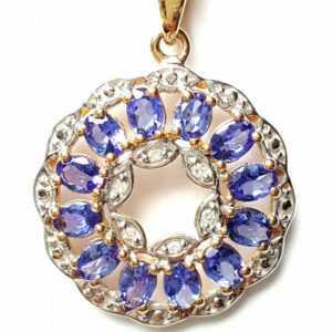 14 Karat AAA Tansanit Diamant Anhänger 1,93 ct. 585 Gold 2,1 cm Ø